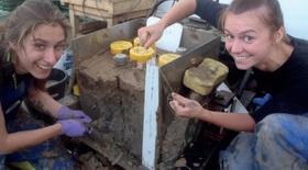 Dr Julia Gottschalk & Charlotte Schooman sampling an ocean 'box core' from a Shackleton site in 2013