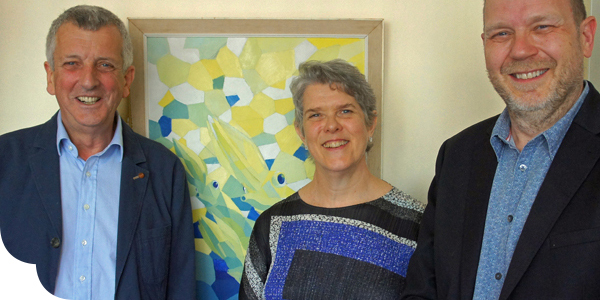 From l-r: Dr William Foster, Claire Barnes and Dr Howard Baylis