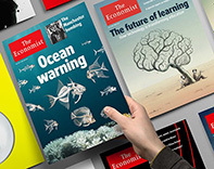 Illustration featuring covers of The Economist