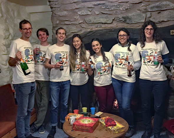 Butterfly Genetics Group wearing their Happy Hour T-shirts