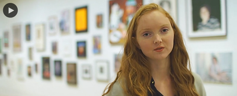 Still from video of alumna Lily Cole with a 'play' icon overlaid