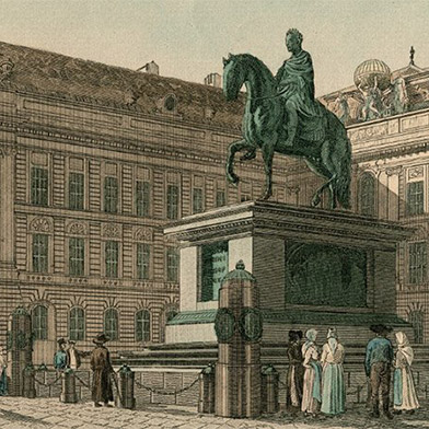 Engraving of Josefplatz in Vienna, Austria, circa 1810