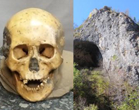 Right: Exterior of Devil's Gate and Left: One of the skulls found in the Devil's Gate cave