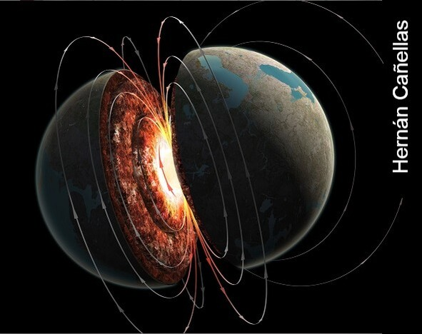 Graphic showing the internal structure of the Earth, highlighting its iron core and the generation of a magnetic field by the geodynamo. Image credit: Hernán Cañellas