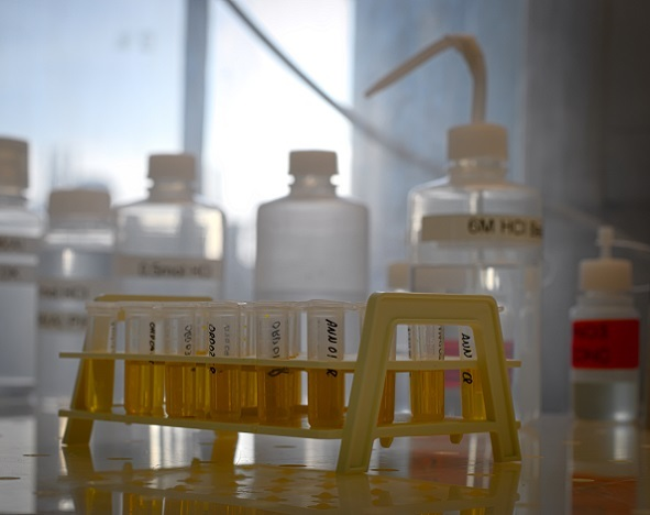 Test tubes and bottles of fluids pictured in the Clean Laboratories