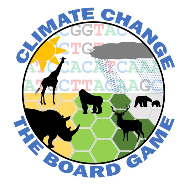 Logo of Climate Change the board game, featuring hexes and animals