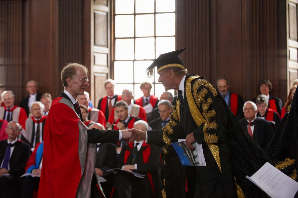 2010: as Chancellor of the University, the Duke confers an honorary Doctorate of Science on Sir Andrew Wiles.