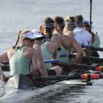 2015 Cambridge women rowers on the Thames - image by Cambridge News