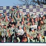 Cambridge crews celebrating Tideway victories