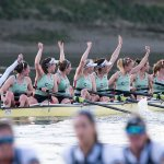 CUWBC Blue Boat crew celebrating their victory in the Cancer Research UK Women's Boat Race