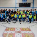 Alumni at the opening of the Gattiker Ice Rink