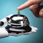 Person Ringing Service Bell Hold By Robot