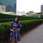 Esuna outside the UN headquarters in New York.