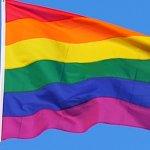 Rainbow flag flying in wind
