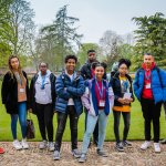 Target Oxbridge group visit, photographed in a College garden