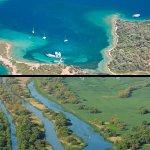 Aerial view of the Turkish Mediterranean coastline and Danube Delta