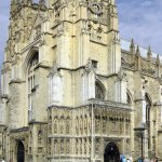 Canterbury Cathedral: West Front, Nave and Central Tower. Seen from south.