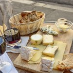 Cheese wine & bread in a sidewalk cafe in Paris