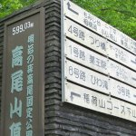 Sign of Summit of Mt. Takao in Hachioji, Tokyo, Japan.
