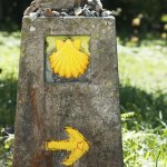 Way of St James shell and arrow marks