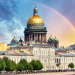 Saint Isaac Cathedral across Moyka river, St Petersburg Russia