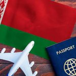 Belarus flag and passport
