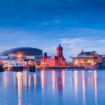 Cardiff evening cityscape