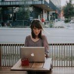 woman working outside