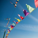 Flags and blue sky