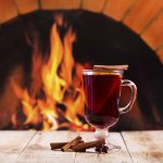 mulled wine over fireplace