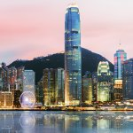 Panorama of Central, Hong Kong, looking over Victoria Harbour