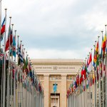 image of flags outside UN building