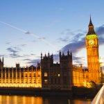 image of UK Parliament at night
