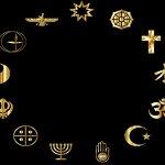 Circle containing different religious symbols