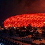 Munich sports stadium by night