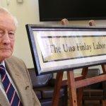 R Derek Finlay, seen with Professor Dobson and the dedication plaque