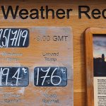 Weather board at Cambridge University Botanic Garden showing data for 25 July 2019