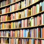 Rounded library shelves full of books