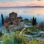 Church of Sveti Jovan on the cliffs at Kaneo, Lake Ohrid