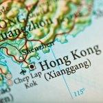 Closeup of Hong Kong on a map