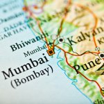 Closeup of Mumbai on a map