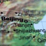 Closeup of Beijing on a map