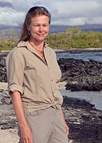 Dr Sally Gibson, pictured on an island in the Galapagos