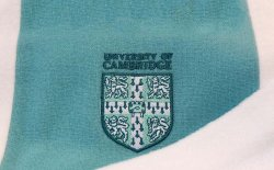 Detail of the fleece-backed alumni scarf