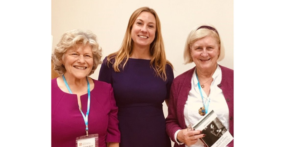 Nov 2019. Female spies in WW2 lecture from Dr. Juliette Pattinson (centre) with Valerie Webb (left) and Caroline Beasley Murray