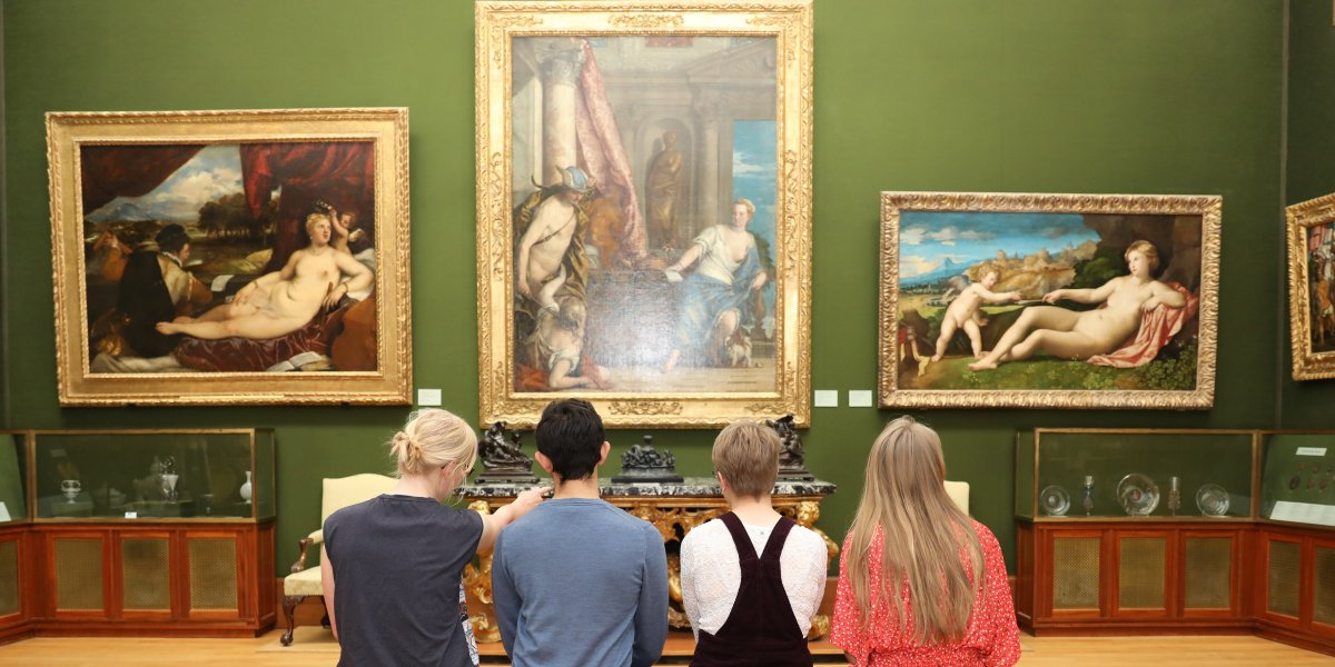 Students looking at paintings in the Fitzwilliam Museum