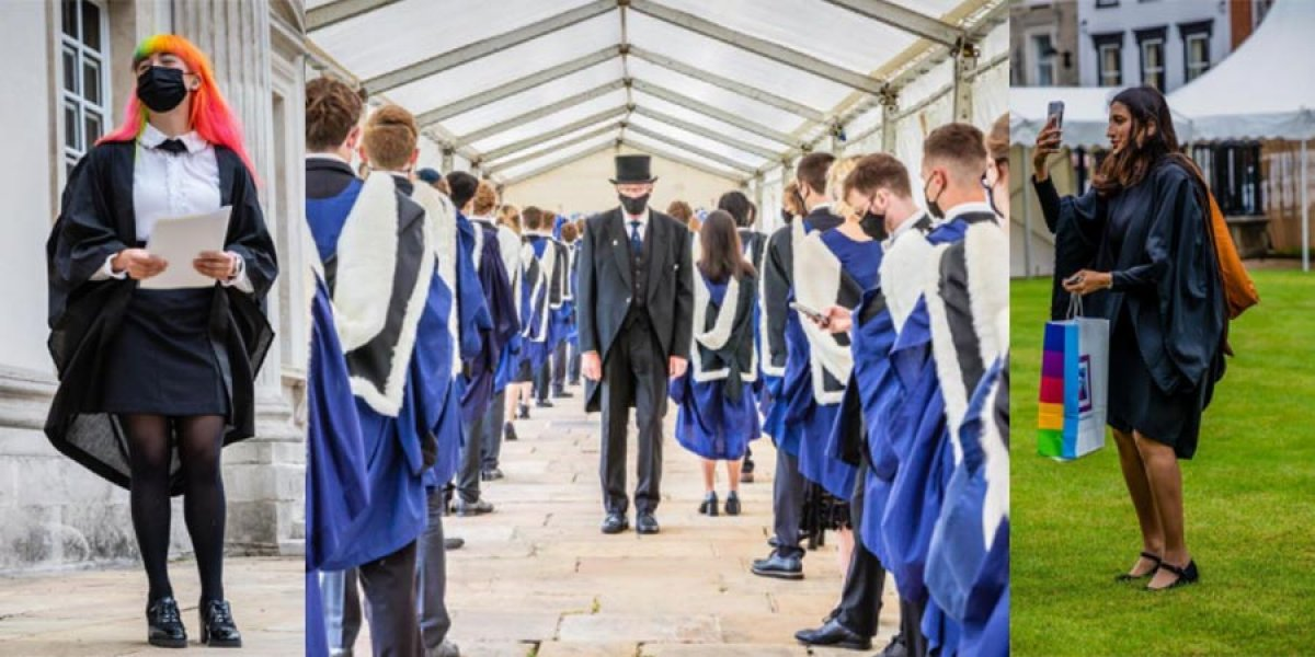 Collage of in-person graduation ceremonies at Cambridge, held in July 2021