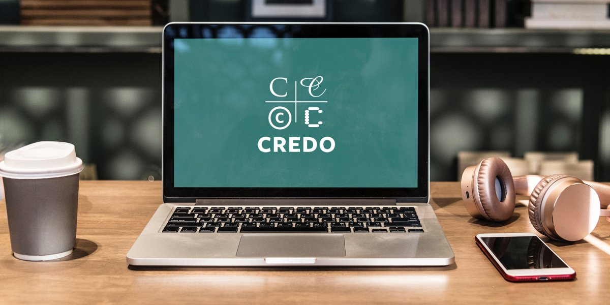 Laptop with Credo logo on the screen