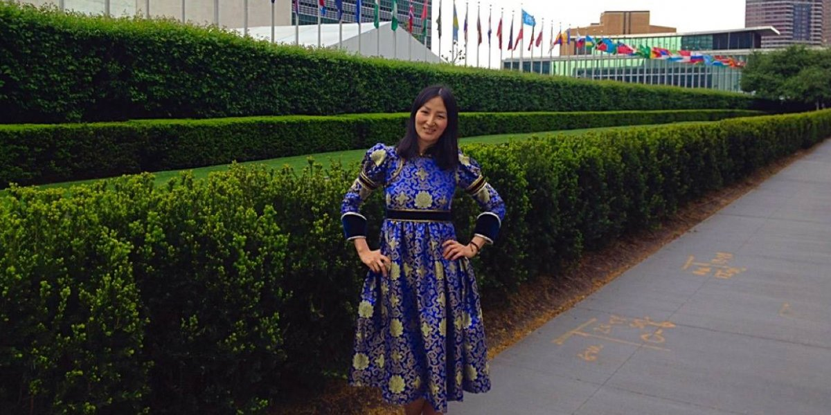 Esuna outside the UN headquarters in New York.