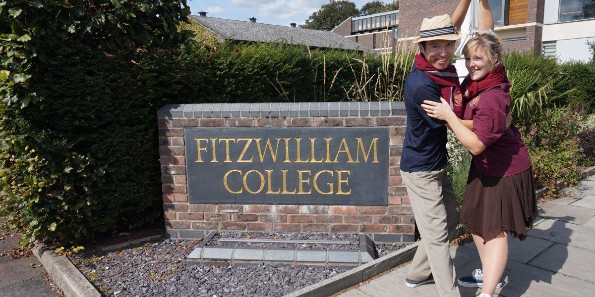 Simon and Danielle outside Fitzwilliam College